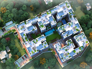 Flats Apartment Complex with day aerial view
