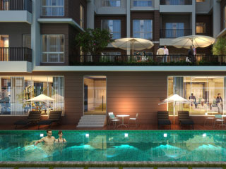 Flats Apartment Complex with Night Pool View