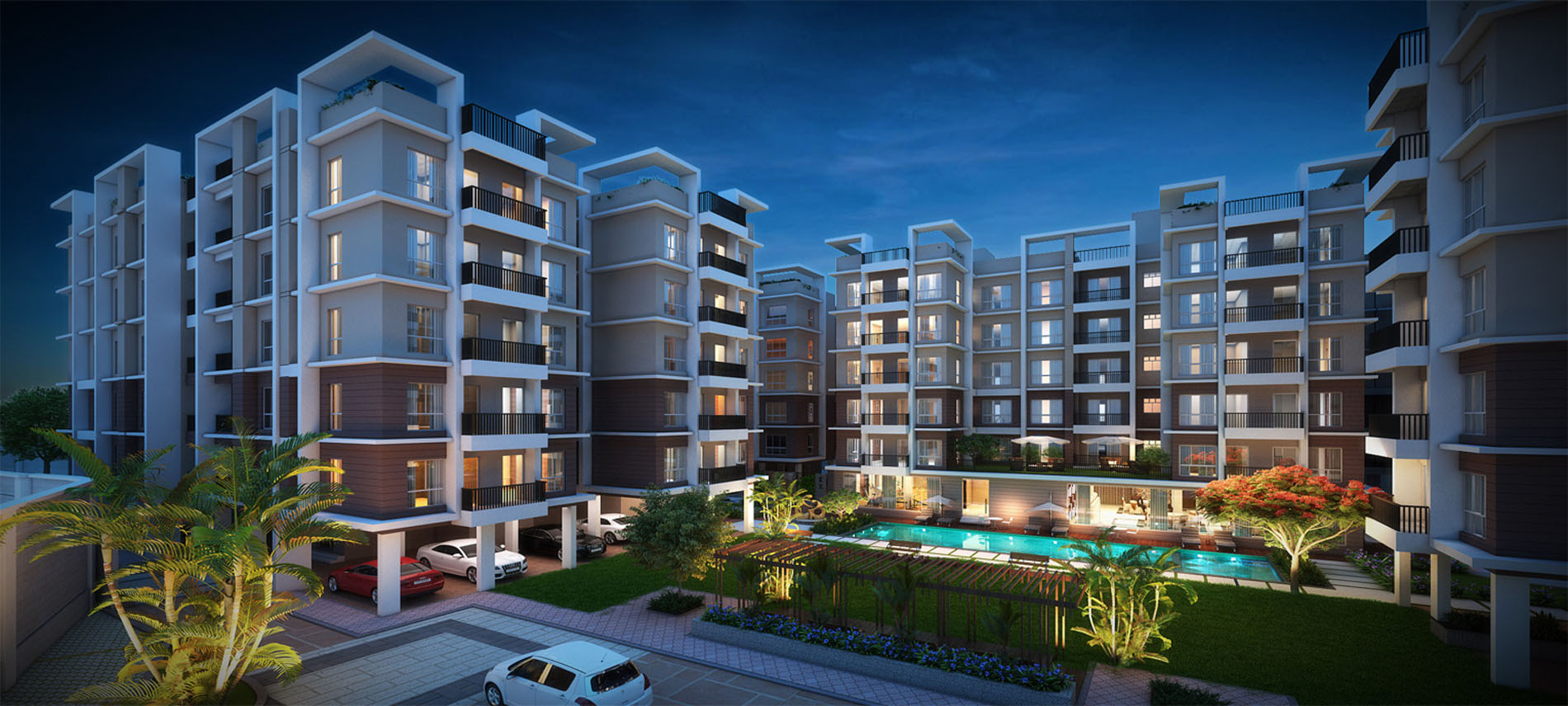 Buy Flats with Garden Swimming Pool near BT Road